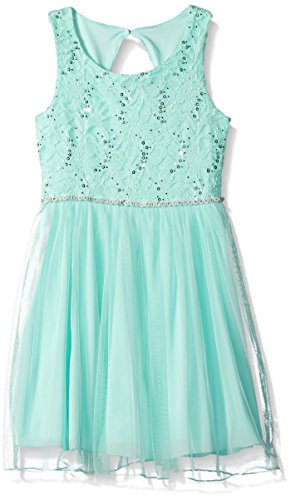 Speechless Big Girls' Lace Sparkle Waist Party Dress, Ice Blue, (Big Kids Ice Blue Apparel)