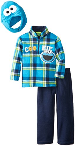 Sesame St Little Boys' Cookie Monster 3 Piece Arctic Fleece Set, Peacoat, -