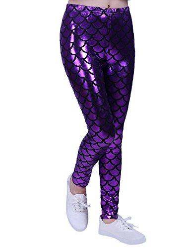Girl's Shiny Mermaid Leggings Metallic Fish Scale Tights Mermaid Costume (4T-12) (Purple, (Girls Mermaid Outfit)