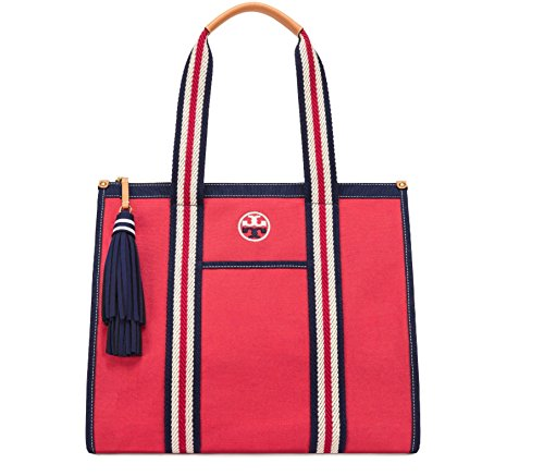 Tory Burch Embroidered T Shoulder Tote - Cherry - Bags Beach Burch Tory