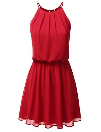 (JJ Perfection Women's Sleeveless Double-Layered Pleated Mini Chiffon Dress RED 2XL)