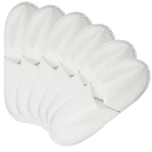 COM de Four® 6Piezas Rizo Slipper, zapatillas cerrado en blanco, en diferentes tamaños, 06 Paar weiß - 44/45, 44 EU 06 Paar weiß - 42/43
