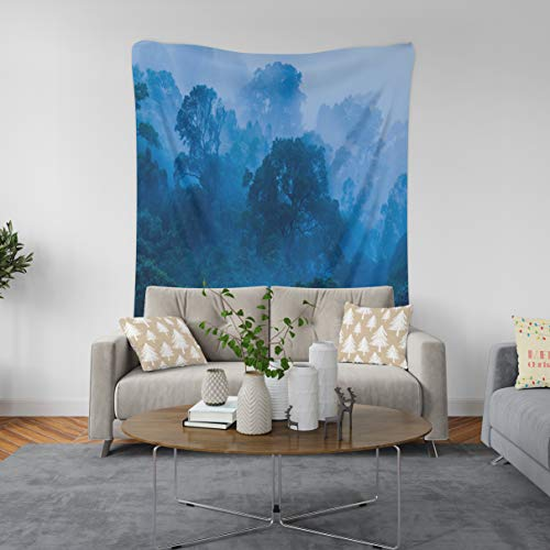 ASOCO Tapestry Wall Handing from with and Spruce Forest Beautiful Destination Europe Fir Green High Ice Wall Tapestry for Bedroom Living Room Tablecloth Dorm 60WX80L Inches