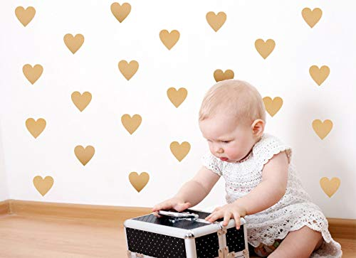 Gold Contemporary Heart - Gold Heart Wall Decals (200 2 inch Decals) Easy Peel and Stick Metallic Gold Finish Removable Decals Safe on Painted Walls