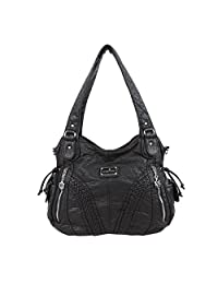 Angelkiss Handbags for Women Top-Handle Satchel Shoulder Bag Messenger Tote Washed Leather Purses Bag with Zipper Closure by Multi-Pocket Roomy Bags 1555
