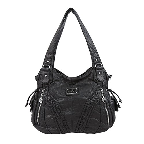 Black Leather Metal (Angelkiss 2 Top Zippers Closure Multiple Pockets Purses and Handbags Soft Leather Shoulder Handbags 1555 (Black))