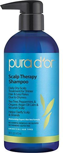 PURA D'OR Scalp Therapy Anti-Dandruff Shampoo, Infused with Organic Argan Oil, Tree Tea Oil, Aloe Vera & Biotin, 16 Fl Oz