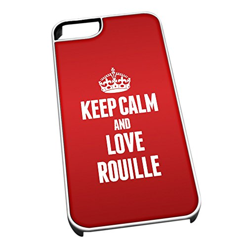 Bianco cover per iPhone 5/5S 1469Red Keep Calm and Love Rouille