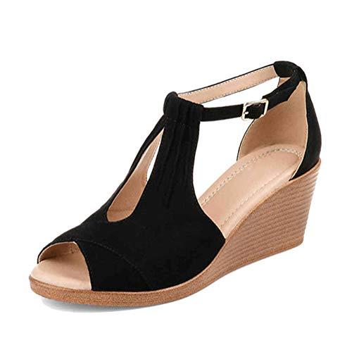 Cuña Hebilla Plataforma Peep Espadrilles Zapatillas Zapatos Alto Alpargatas Playa Toe Mujer Sandalias Verano Negro Chancletas Tacón De Minetom Mares qAYPntH