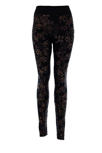D&K Monarchy Women's Metallic Leggings (0-12) Black (Paisley)