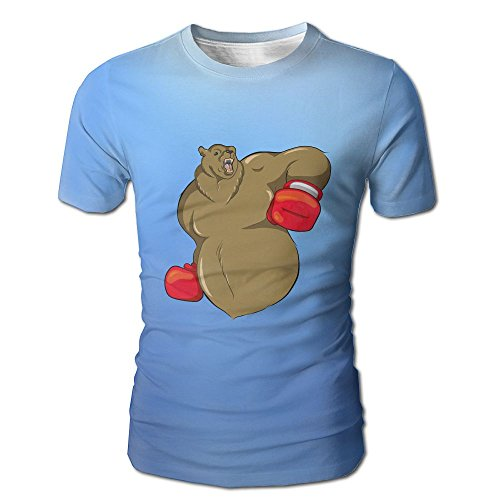 Wearing Red Gloves Growling Bear Boxer GraphicMens Slim Fit Short Sleeves Athletic Muscle Round Neck T-Shirt (Prose Border)