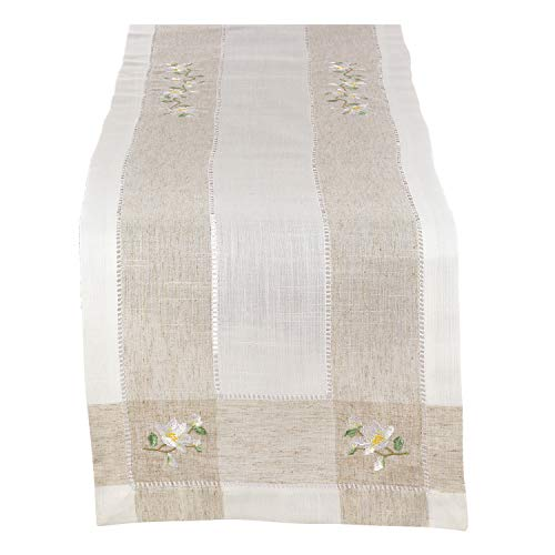Fennco Styles Hommage Brodé Collection Cottage Magnolia Embroidery Hemstitch Border Linen Blend 15 x 70 Inch Table Runner - Ivory Table Runner for Wedding, Banquet, Tea Party and Home Décor -