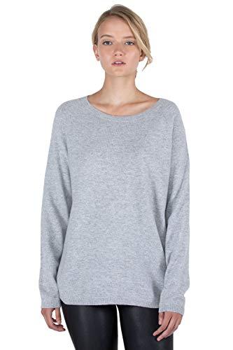 J CASHMERE Women's 100% Cashmere Slouchy Raglan Sleeve Boatneck Sweater(L, Grey)