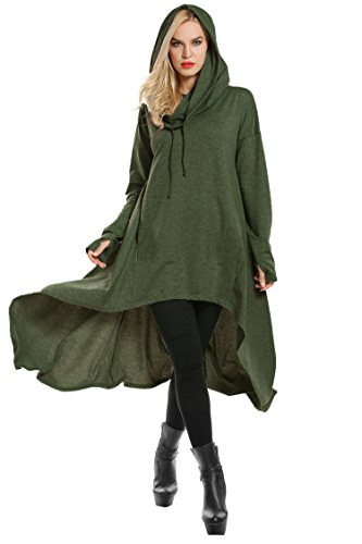 Miu Miu Green - SE MIU High Low String Hoodie Tunic Sweatshirts Hooded Cloak Dress with Pocket Olive Green