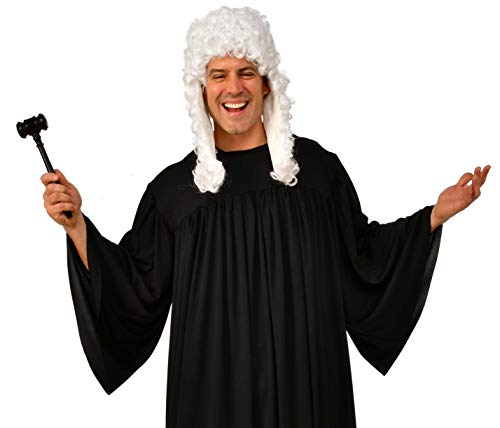 Rubie's Judge Costume Accessory Kit, Wig and Gavel White