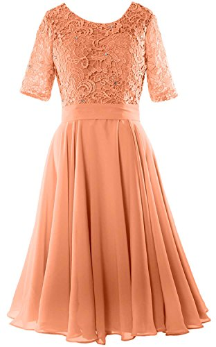 MACloth Elegant Short Mother of the Bride Dress Half Sleeves Lace Formal Gown Coral