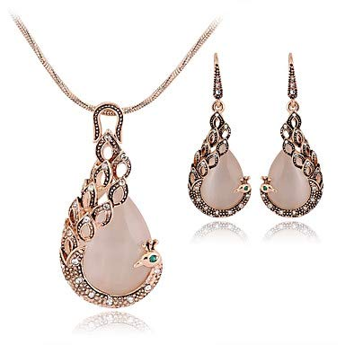 (Redmei Women's Pink Opal Sculpture Jewelry Set - Peacock, Pear Ladies, Stylish, Sweet, Elegant Include Drop Earrings Pendant Necklace Pink for Gift Date)
