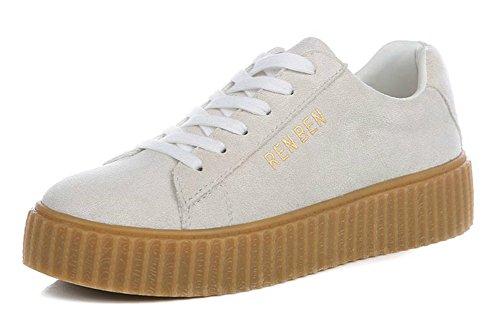 Sfnld Womens Fashion Lågt Skuren Plattform Snörning Sneakers Beige