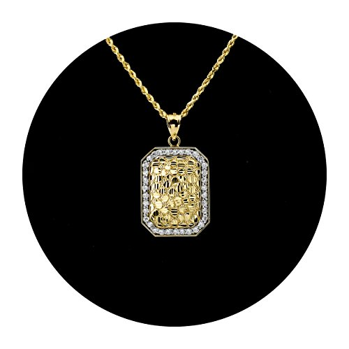 LoveBling 10K Yellow Gold Diamond Cut Nugget Curved Dog Tag Pendant Charm with CZ Border (1.60