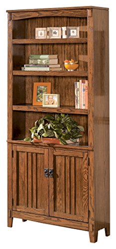 Cabinet Bookcase Brown Mission (Ashley Furniture Signature Design - Cross Island Large Office Door Bookcase - 3 Adjustable Shelves/1 Cabinet - Casual - Medium Brown Finish)