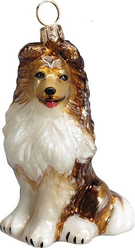 Joy to The World Collectibles European Blown Glass Pet Ornament, Shetland Sheepdog