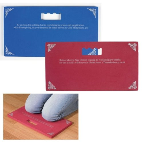 Pair of 2 Red and Blue Foam Group Prayer Knee Pad Mat with Bible Scripture