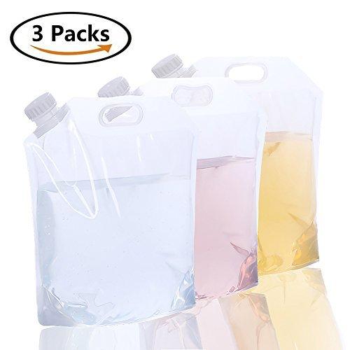 [3paquetes] 5L recipiente de agua plegable/agua Carrier-amacase Depósito de agua plegable Bolsa de agua para mochila...