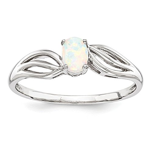- 925 Sterling Silver Created Opal Solitaire Engagement Ring Size 6