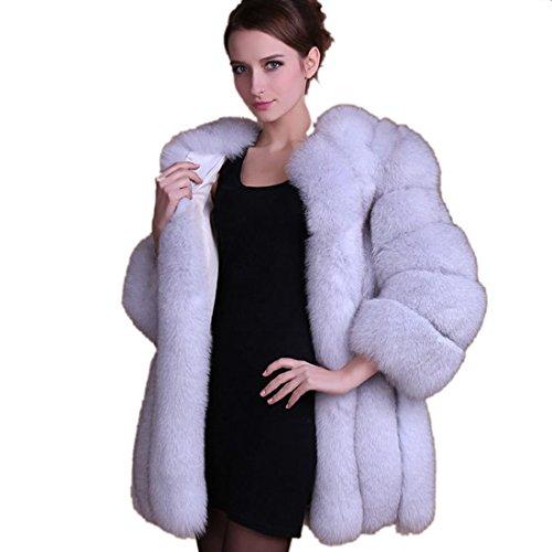 Lisa Colly Wome Winter Coat Warm New Faux Fur Coat Outerwear Women's Fashion Fur Coat (M, White)