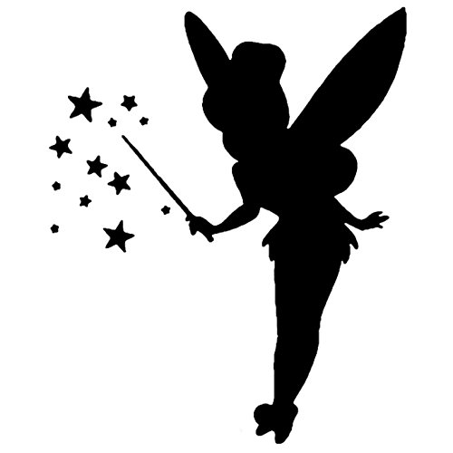 ANGDEST Tinkerbell LOGO ICON SYMBOL (BLACK) (set of 2) - silhouette stencil artwork by Waterproof Vinyl Decal Stickers for Laptop Phone Helmet Car Window Bumper Mug Cup Door Wall Home Decoration