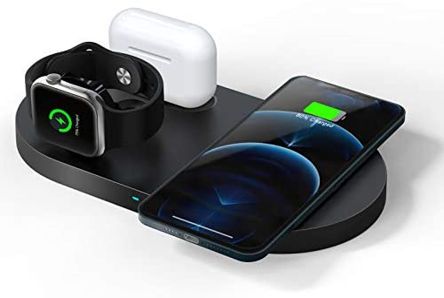 QI-EU WirelessCharger, 23WFastWirelessChargingStation,3 in 1 Qi-CertifiedChargingPad Stand for iWatch SE/6/5/4/3/2 Airpods 1/2/Pro iPhone 12/12 Pro/12 Pro Max/12 mini/11/11 Pro/SE/8/X/XR