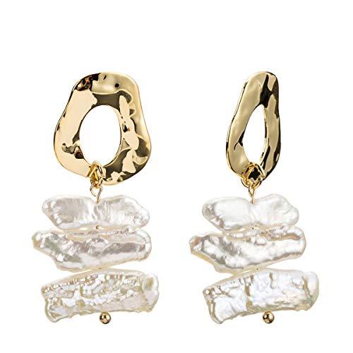 Freshwater Pearl Dangle Drop Earrings Irregular Geometry Circle Geo Round Hoop Dangle Stud - Freshwater Pearl Drop Circle