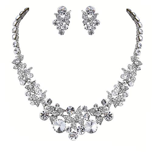 Janefashions Butterflies Clear Austrian Rhinestone Crystal Necklace Earring Set Gift Boxed Bridal N1625 Silver (Butterfly Wedding)