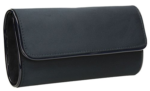 Jamie Suede Velvet Flapover Womens Party Prom Ladies Clutch Bag - Navy Blue