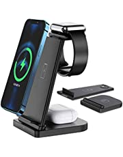 Wireless Charger,FDGAO 3 in 1 15W Fast Qi Wireless Charger Station Detachable,Upright Charging Stand for iPhone 12/11/XR/X/8,Airpods pro/2,Apple watch SE/6/5/4/3/2 and Samsung Galaxy Phone/Galaxy buds