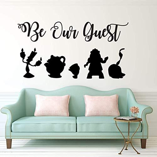 - Be Our Guest Wall Decal - Beauty and the Beast - Lumiere, Mrs Potts, Chip, Cogsworth And Featherduster