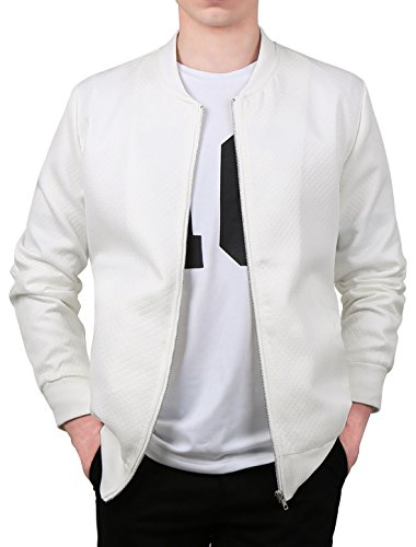 uxcell Men Argyle Design Stand Collar Zippered Jacket Cream White L US 44