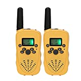 Mini Radio walkie talkie, funny gifts for boys and girls, durable 22 channels FRS outdoor UHF 2 way radio toys yellow color