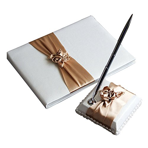 KateMelon Wedding Accessories Blush Ivory Guest Book and Pen Set (Champagne - Set Wedding Book Ivory