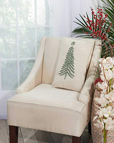 Mina Victory Home Green Pine Tree Linen Holiday Throw Pillow, 12 x 18