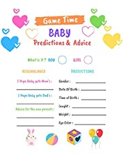 """Best Ink High Quality 50 Pcs 5 x 7"""" Colorful Baby Prediction and Advice Cards for Baby Shower Games for Gender Neutral, Girls, Boys or Party Favors to Play - Best Wishes for Baby, New Mom & Dad, Mommy & Daddy, Parents to Be Advice Cards (COLORFUL)"""