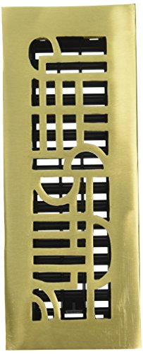 Decor Grates AD310-SB 3-Inch by 10-Inch Art Deco Floor Register, Solid Brass with Satin Brass Finish (Art Deco Register Bronze)