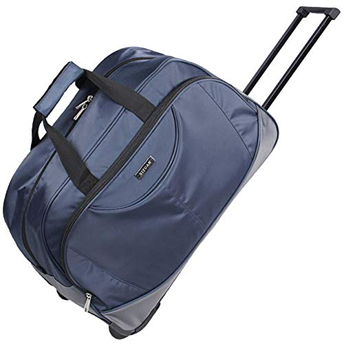 SIYUAN Duffel Bag with Wheels Travel Tote Suitcase Trip Trolley Case Airline Navy Rolling Suitcase for Men Navy Large 25…