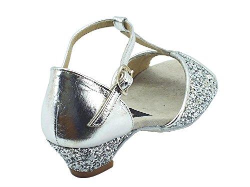 Vitiello Dance Shoes Sandalo Bambina L.a. Cristal Argento - Zapatillas de danza de Material Sintético para niña plateado