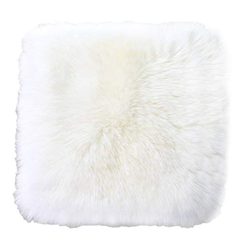 (Sell4Style 18 Inch Australia Genuine Sheepskin Car Seat Cushion Covers Chair Pad One Seat Cover For car, office chair, or plane (White))