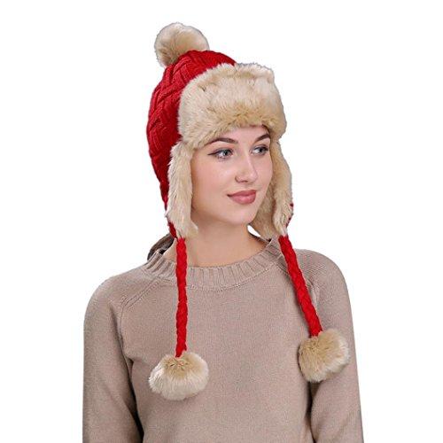 Hunputa Women Hat Winter, Russian Trooper Trapper Hat Winter Windproof Ski Hat With Ear Flaps Warm Hunting Hats For Men Women (Red)
