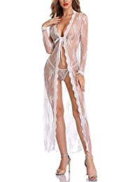 ea2113270 Women Sexy Robe Lingerie Set Lace Flower Kimono Babydoll Short Nightgown