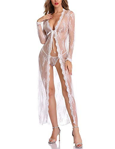 LALAVAVA Women Bride Robes Sexy Sheer Lingerie Lace Floral Kimono Long Bathrobe (65 White, L)