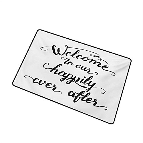 Becky W Carr Quote Universal Door mat Vintage Fountain Pen Lettering Wedding Phrase Welcome to Our Happily Ever After Door mat Floor Decoration W29.5 x L39.4 Inch,Black and White