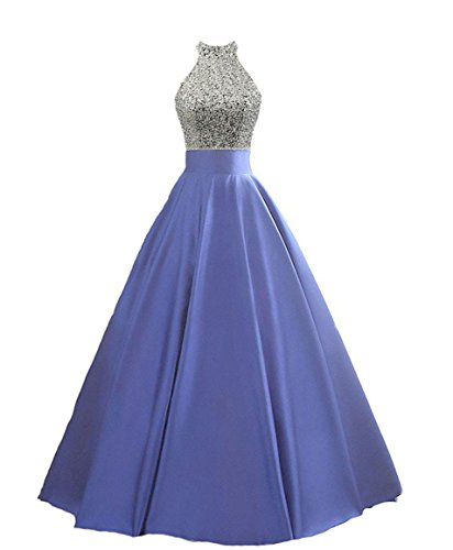 HEIMO Women's Sequined Keyhole Back Evening Party Gowns Beaded Formal Prom Dresses Long H123 0 Blue